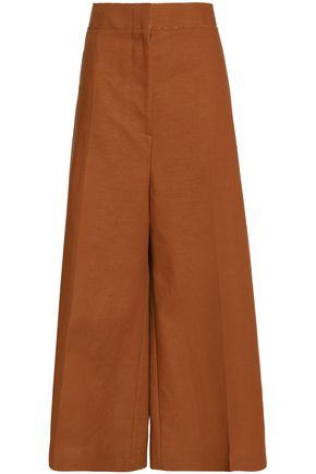 MARNI Wool and linen-blend wide-leg pants