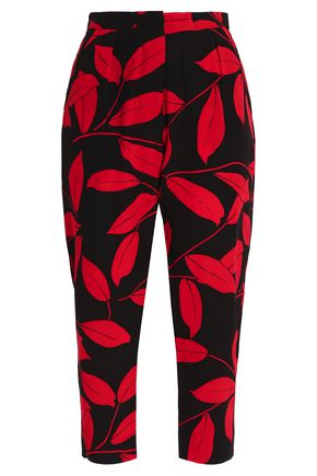 MARNI Cropped printed silk-crepe de chine tapered pants
