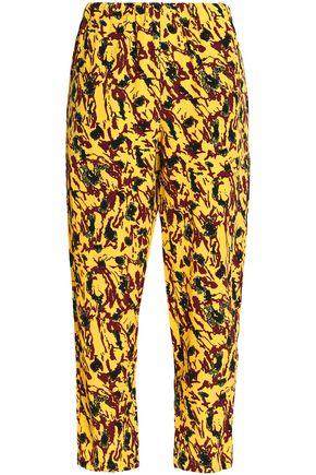 MARNI Pleated printed crepe straight-leg pants