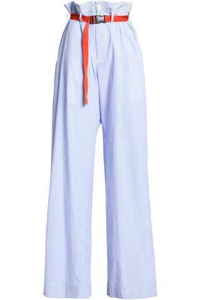 MAISON MARGIELA Belted striped cotton-poplin wide-leg pants