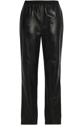 MAISON MARGIELA Gathered leather straight-leg pants