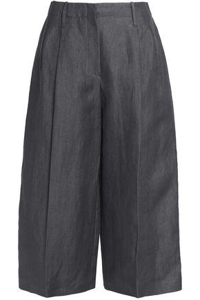 JOSEPH Pleated linen-twill culottes