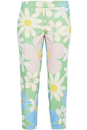 THOM BROWNE Cropped floral-print cotton-faille straight-leg pants