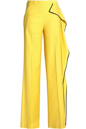 VIONNET Draped wool-blend wide-leg pants