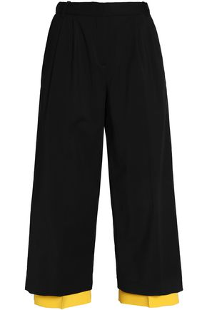 VIONNET Layered pleated cotton-blend culottes