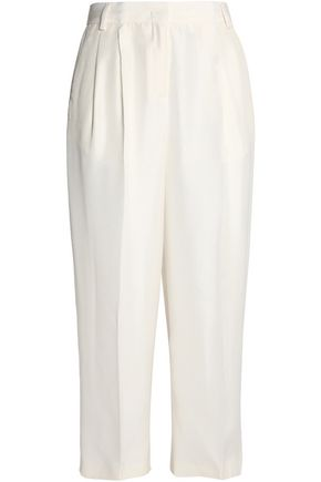 VIONNET Pleated silk-shantung culottes
