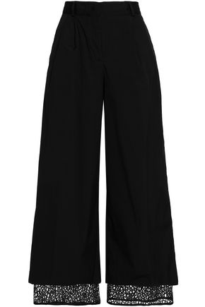 VIONNET Layered macramé lace and cotton-blend wide-leg pants