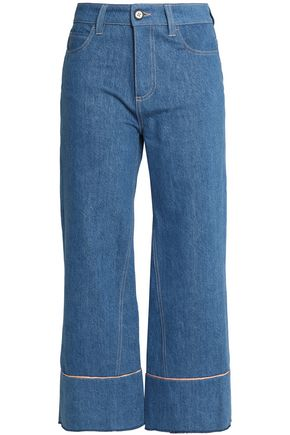 VIONNET Cropped high-rise wide-leg jeans