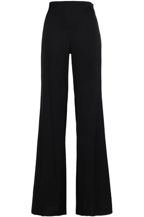 WOMAN SILK-BLEND FLARED PANTS BLACK