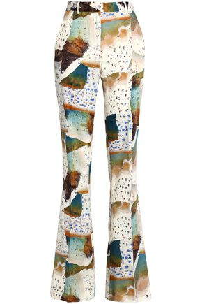 VIONNET Printed cotton-blend flared pants