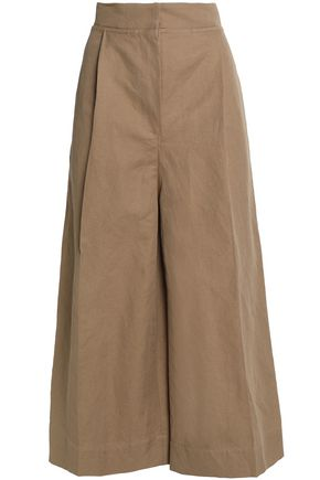BRUNELLO CUCINELLI Cotton and linen-blend twill culottes