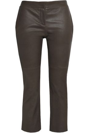 BRUNELLO CUCINELLI Cropped leather slim-leg pants