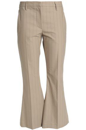 BRUNELLO CUCINELLI Pinstriped stretch-cotton gabardine flared pants
