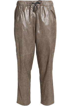 BRUNELLO CUCINELLI Cropped metallic suede tapered pants