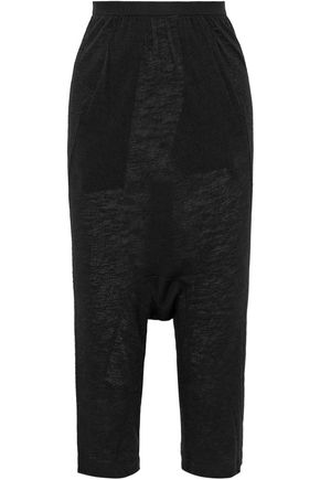 RICK OWENS LILIES Cropped cashmere and silk-blend jersey slim-leg pants