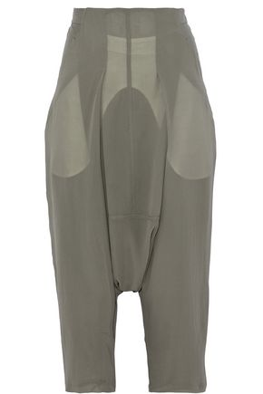RICK OWENS Cropped silk straight-leg pants