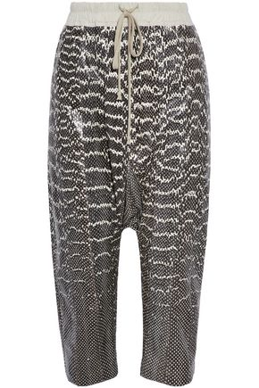 RICK OWENS Cropped snakeskin straight-leg pants