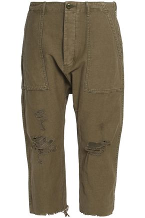 R13 Cropped distressed canvas straight-leg pants