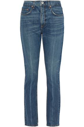 RAG & BONE/JEAN Cropped frayed low-rise skinny jeans