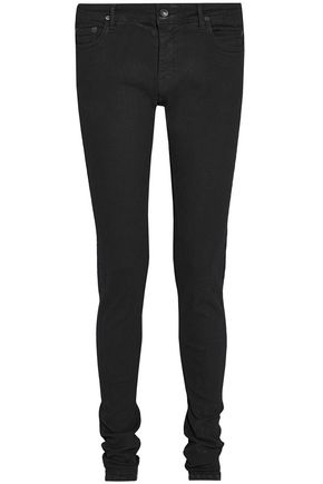 RICK OWENS Coated mid-rise skinny jeans