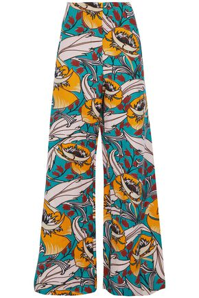 MARNI Floral-print cotton and linen-blend wide-leg pants