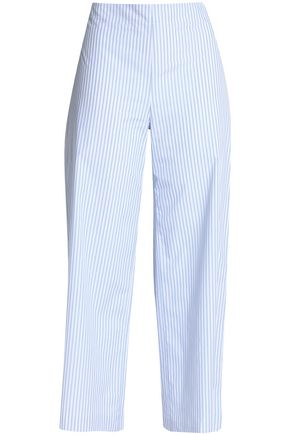 ADAM LIPPES Striped cotton-poplin wide-leg pants