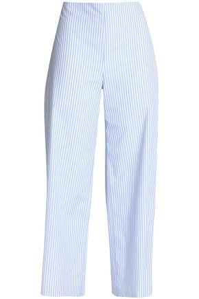 ADAM LIPPES Striped cotton-poplin wide-leg pants