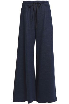 ADAM LIPPES Satin-trimmed slub jersey wide-leg pants