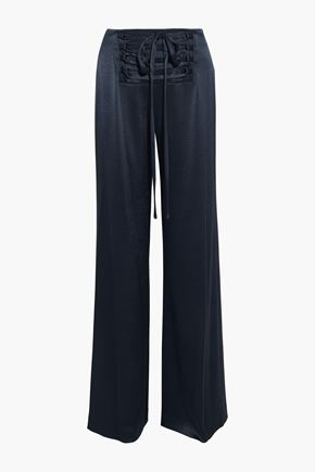 DEREK LAM 10 CROSBY Lace-up satin wide-leg pants