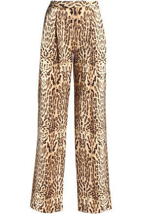 ADAM LIPPES Leopard-print wool wide-leg pants