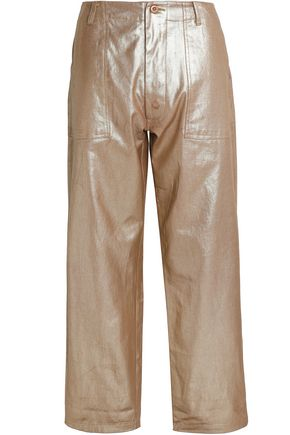 ANTIK BATIK Coated cotton-twill wide-leg pants