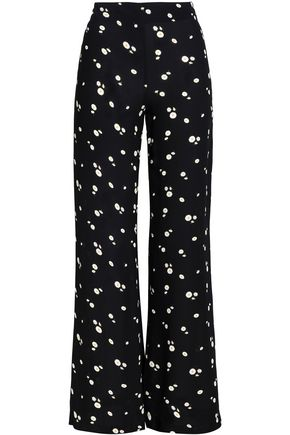 PAPER London Floral-print crepe flared pants