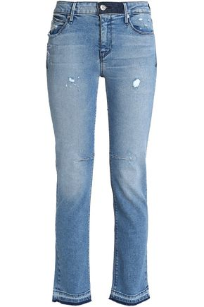 RTA Distressed mid-rise slim-leg jeans