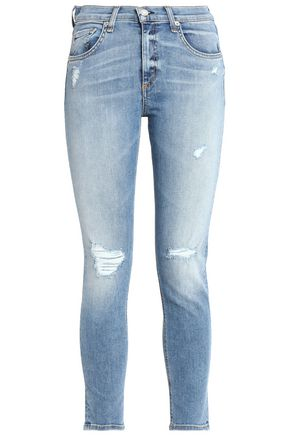 RAG & BONE/JEAN Cropped distressed low-rise skinny jeans