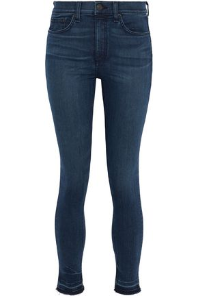 RAG & BONE/JEAN Cropped frayed high-rise skinny jeans