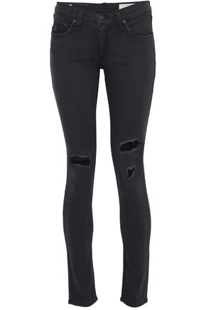 RAG & BONE/JEAN Distressed mid-rise skinny jeans