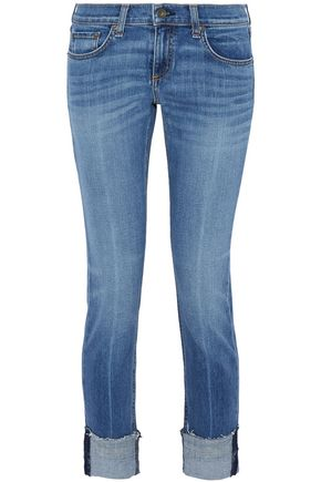 RAG & BONE/JEAN Cropped distressed high-rise straight-leg jeans