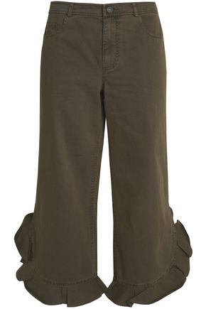 CINQ À SEPT Cropped ruffle-trimmed twill pants