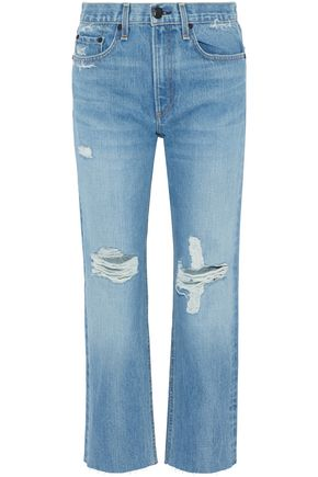 RAG & BONE Cropped distressed mid-rise kick-flare jeans
