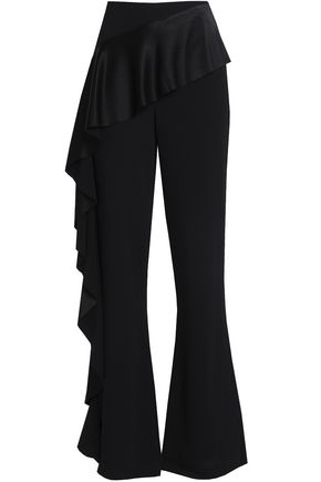 CINQ À SEPT Ruffled satin-paneled crepe flared pants