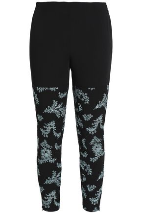 CINQ À SEPT Cropped metallic embroidered ponte skinny pants