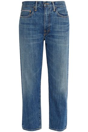 VINCE. Faded mid-rise straight-leg jeans