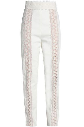 ZIMMERMANN Lace-trimmed cotton-twill slim-leg pants