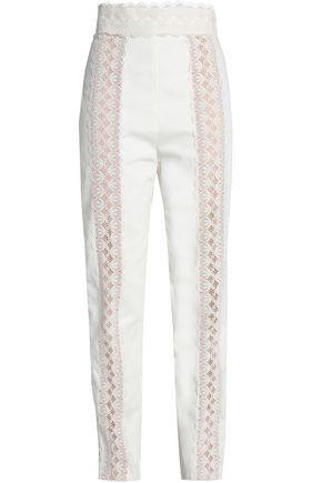ZIMMERMANN Lace-trimmed cotton-twill slim-leg pants