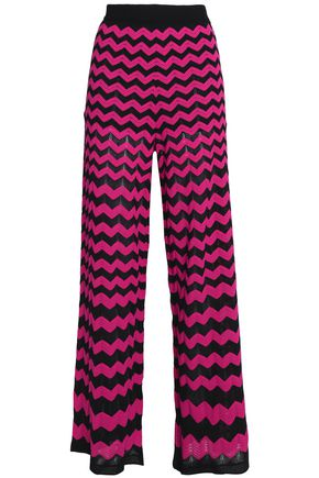 M MISSONI Geometric design pointelle-knit wide-leg pants