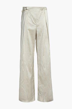 ZIMMERMANN Striped crinkled silk wide-leg pants