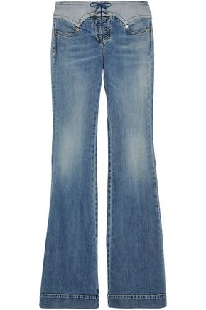ROBERTO CAVALLI Lace-up faded mid-rise flared jeans
