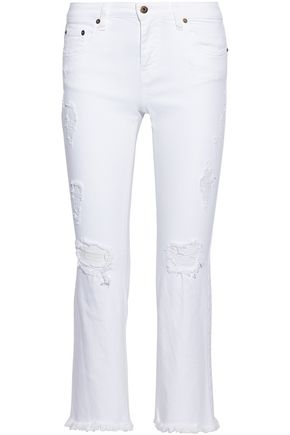 ROBERTO CAVALLI Cropped distressed mid-rise flared jeans