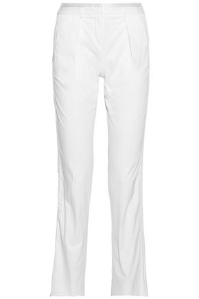 ROBERTO CAVALLI Satin-trimmed cotton-blend twill straight-leg pants