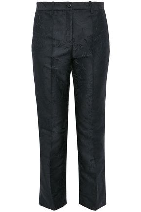 ROBERTO CAVALLI Cropped brocade straight-leg pants